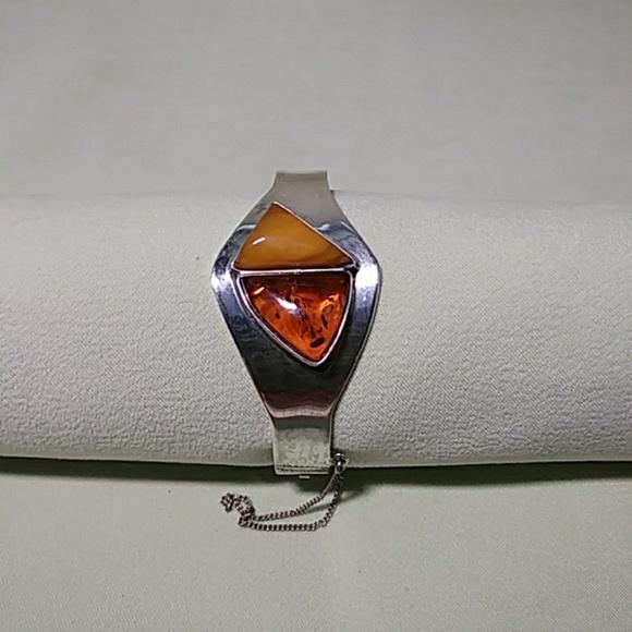 Sterling Silver Cuff Bracelet Amber